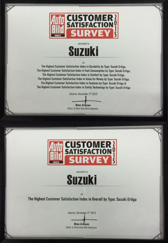 Suzuki Ertiga Raih The Highest Customer Satisfaction Index AutoBild Award 2015